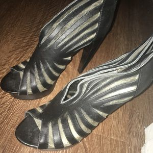 "Bebe Black Leather/Mesh 6"" Platform Heels Size 8"